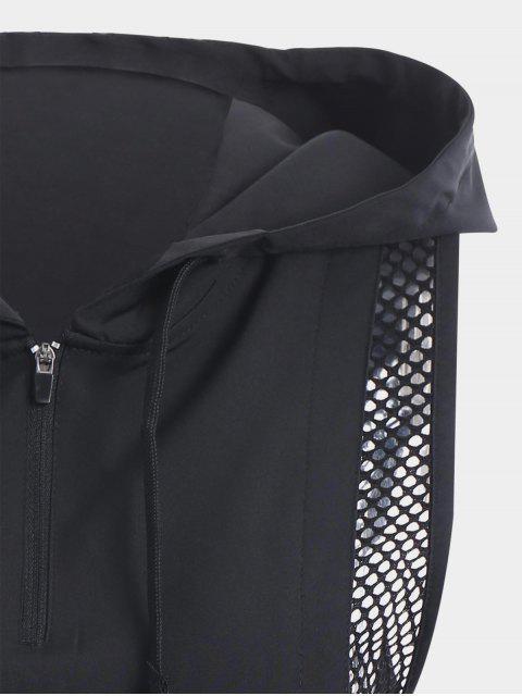 hot Half-zip Mesh Panel Hooded Sports Top - BLACK M Mobile