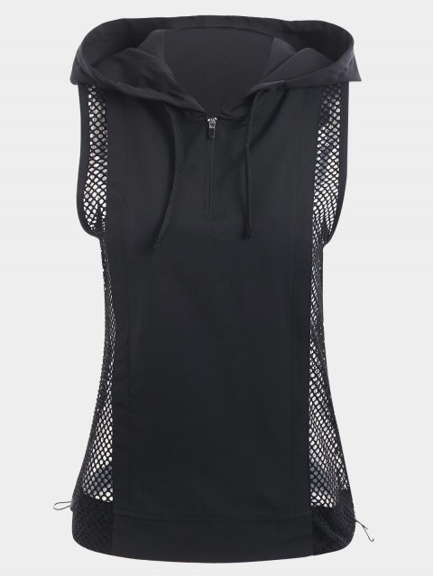 outfit Half-zip Mesh Panel Hooded Sports Top - BLACK S Mobile