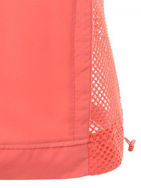 shop Half-zip Mesh Panel Hooded Sports Top - ORANGEPINK M Mobile