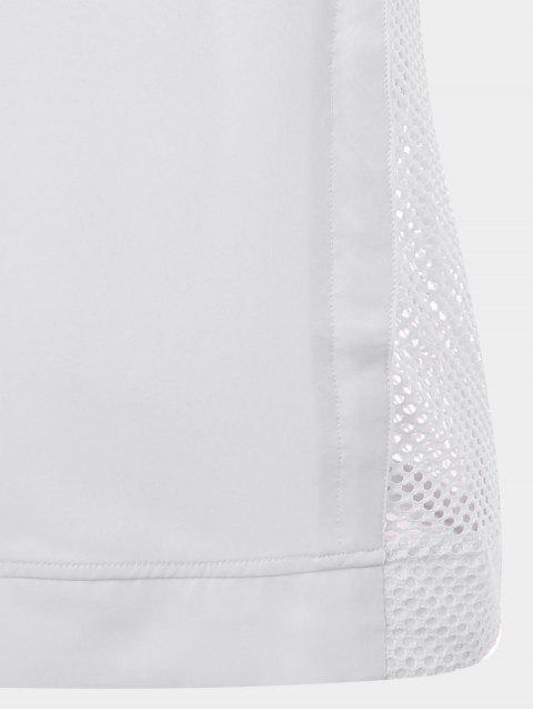 trendy Half-zip Mesh Panel Hooded Sports Top - WHITE M Mobile