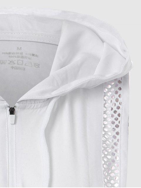 fashion Half-zip Mesh Panel Hooded Sports Top - WHITE S Mobile