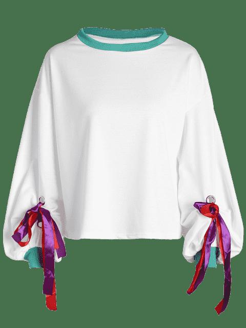 shops Gathered Sleeve Bowknot Sweatshirt - WHITE ONE SIZE Mobile