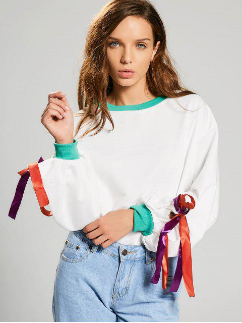 shops Gathered Sleeve Bowknot Sweatshirt - WHITE ONE SIZE Mobile