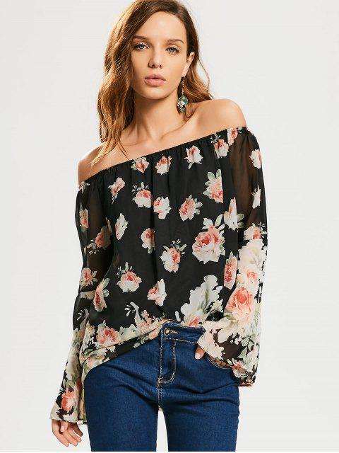 unique Floral Flare Sleeve Off Shoulder Blouse - FLORAL XL Mobile