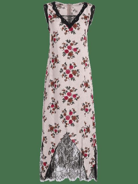 lady Lace Trim Floral Stripes Maxi Dress - RED XL Mobile