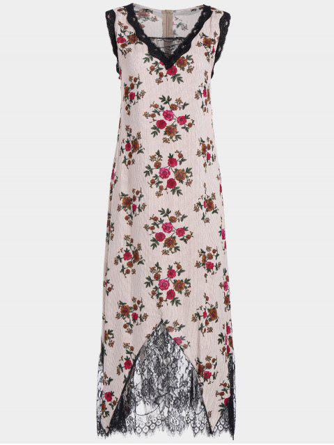 Lace Trim Floral Stripes Maxi Vestido - Rojo XL Mobile
