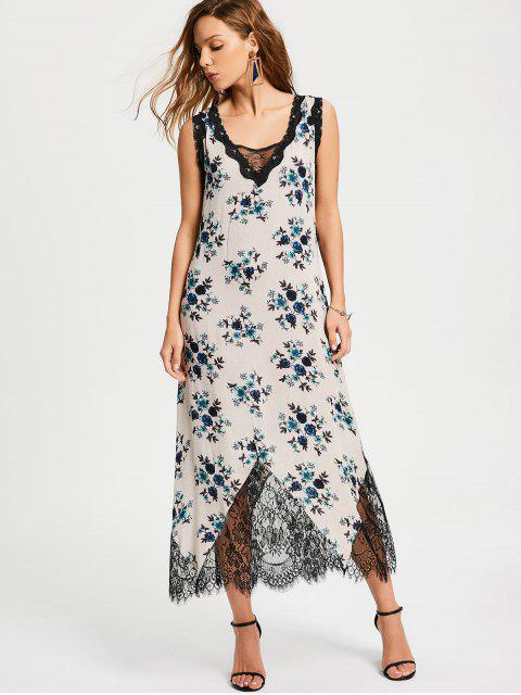 Lace Trim Floral Stripes Maxi Vestido - Azul S Mobile