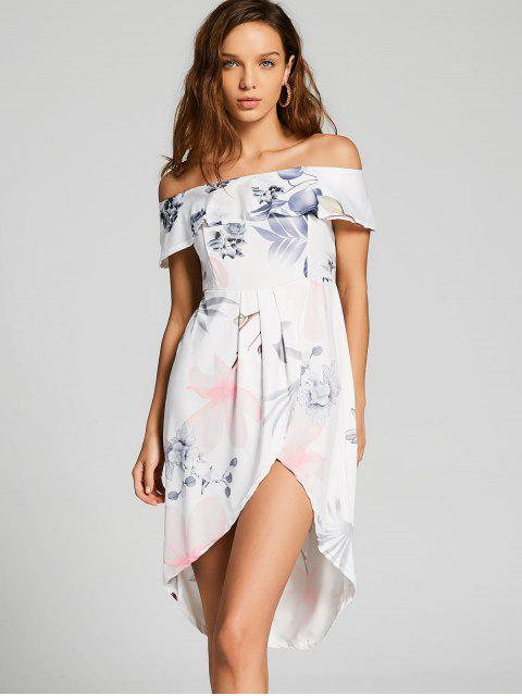 Floral Overlay Vestido asimétrico de hombros - Blanco XL Mobile
