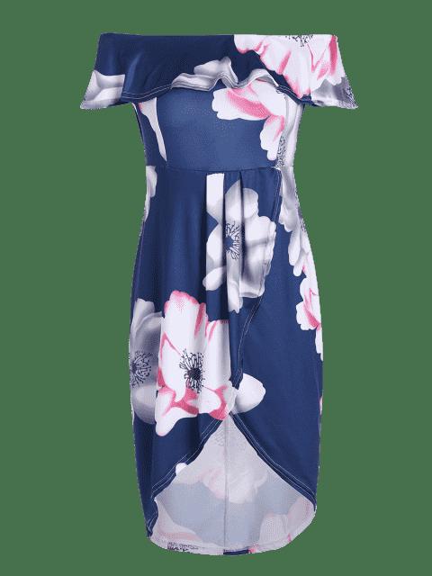 women Floral Overlay Off Shoulder Asymmetrical Dress - PURPLISH BLUE XL Mobile