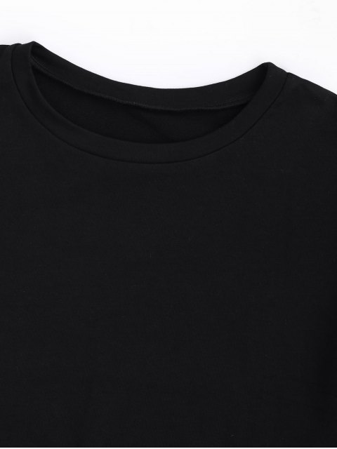 women's Curled Sleeve Cropped Sports Top - BLACK L Mobile
