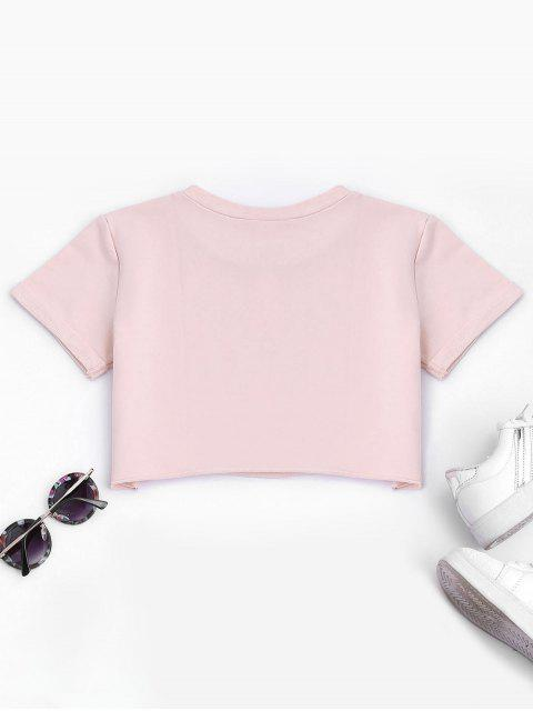 lady Curled Sleeve Cropped Sports Top - PINK L Mobile