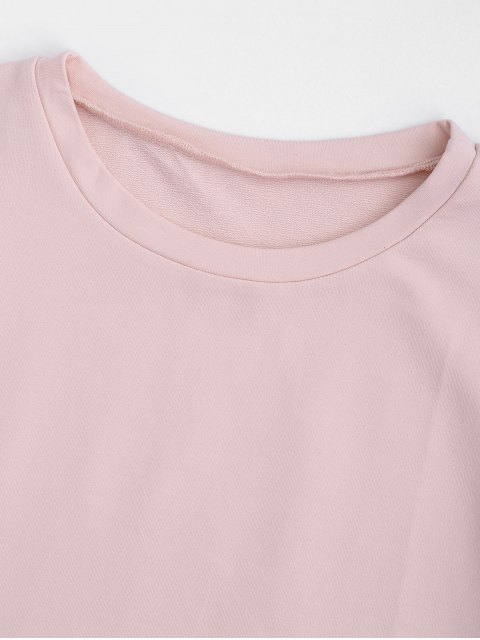 best Curled Sleeve Cropped Sports Top - PINK M Mobile