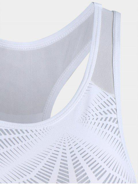 online Abstract Print Mesh Panel Racerback Bra - WHITE L Mobile