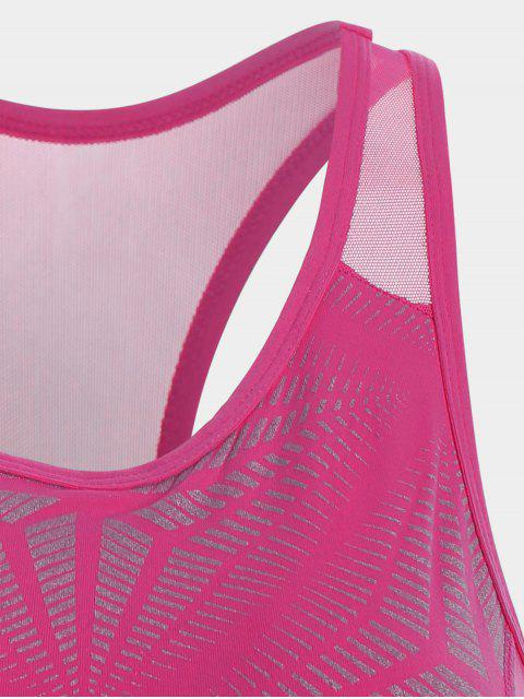shops Abstract Print Mesh Panel Racerback Bra - ROSE RED L Mobile