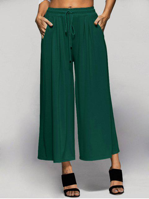 latest Elastic Waist Culotte Pants - GREEN L Mobile