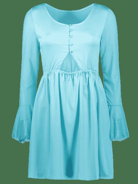latest Mesh Spliced Scoop Neck Flare Sleeve Dress - LIGHT BLUE S Mobile