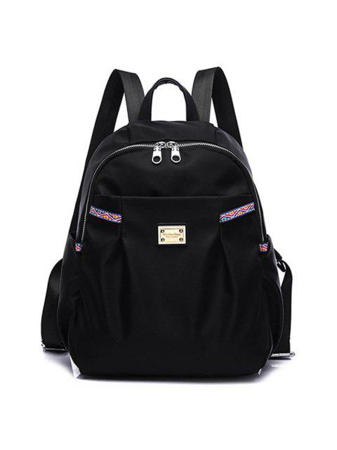 sale Ethnic Trim Nylon Backpack - BLACK  Mobile