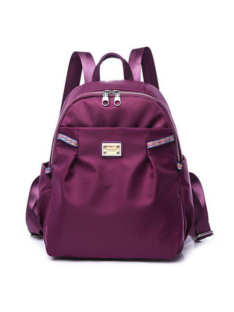 affordable Ethnic Trim Nylon Backpack - PURPLE  Mobile