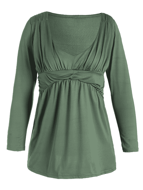 online Plunging Neck Ruched Plain Tee - PEA GREEN XL Mobile