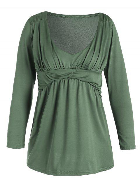 hot Plunging Neck Ruched Plain Tee - PEA GREEN M Mobile