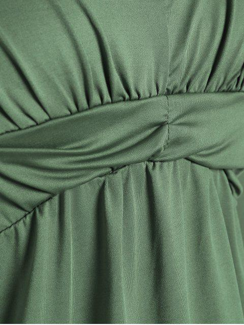 outfit Plunging Neck Ruched Plain Tee - PEA GREEN S Mobile