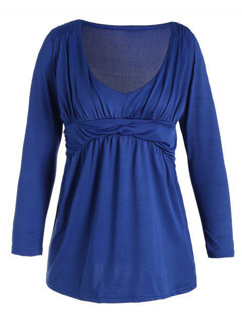T-shirt Simple Drapé Col Plongeant - Bleu L Mobile