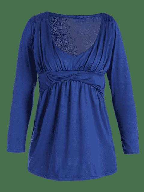 T-shirt manches courtes à col plombé - Bleu L Mobile