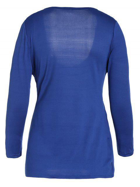 latest Plunging Neck Ruched Plain Tee - BLUE S Mobile