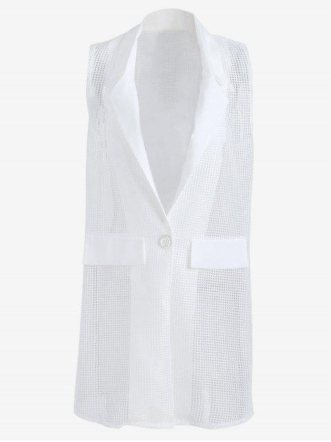 Hollow Out Faux Pockets Long Waistcoat - Blanc TAILLE MOYENNE Mobile