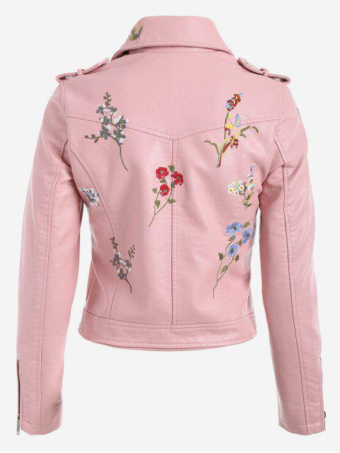 women's Floral Patched Zippered Faux Leather Jacket - PINK M Mobile