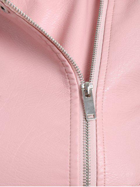 ladies Floral Patched Zippered Faux Leather Jacket - PINK S Mobile