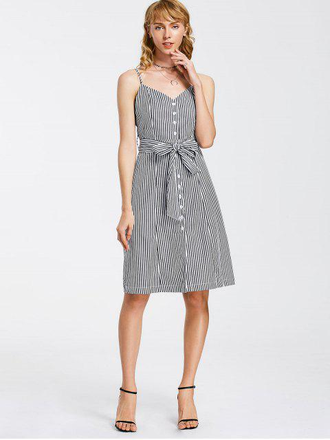 affordable Button Up Striped Belted Mini Dress - WHITE AND BLACK S Mobile