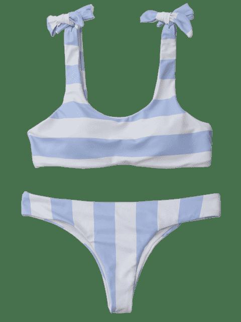 lady Striped Tie Shoulder Scoop Bikini Set - BLUE AND WHITE L Mobile