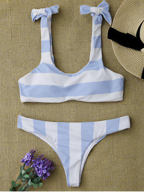 online Striped Tie Shoulder Scoop Bikini Set - BLUE AND WHITE S Mobile