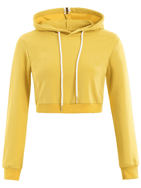 hot Cropped Drawstring Sports Hoodie - YELLOW S Mobile