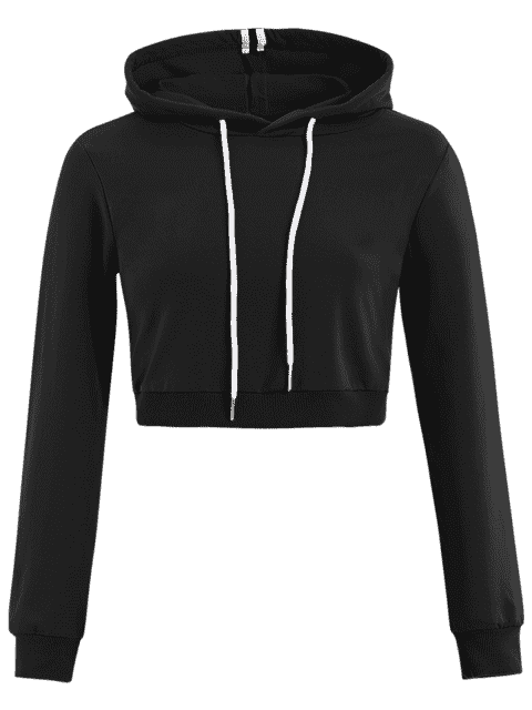 outfit Cropped Drawstring Sports Hoodie - BLACK L Mobile