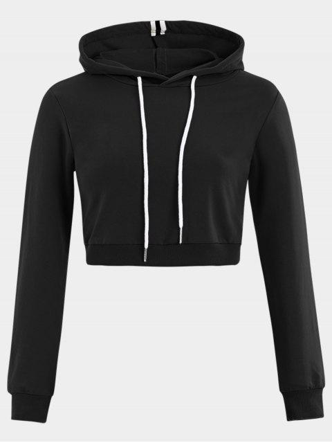 shop Cropped Drawstring Sports Hoodie - BLACK S Mobile