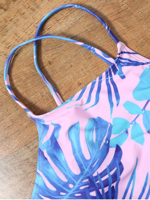 women's Handpainted Palm Leaf Cropped Top Bikini - COLORMIX S Mobile