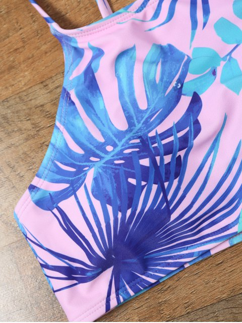 online Handpainted Palm Leaf Cropped Top Bikini - COLORMIX 2XL Mobile