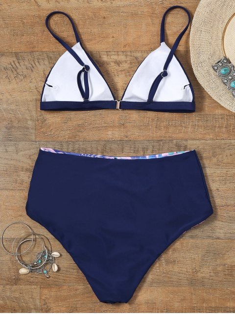 hot Reversible Bikini Set with Palm Leaf Print - COLORMIX M Mobile