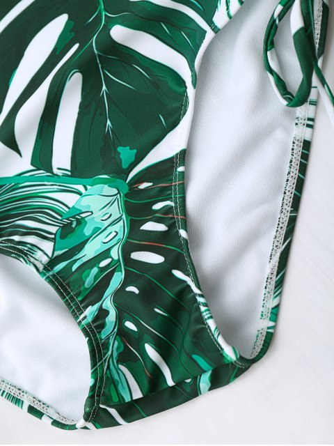 shops High Waist Tropical Leaf Print Bikini Set - COLORMIX S Mobile
