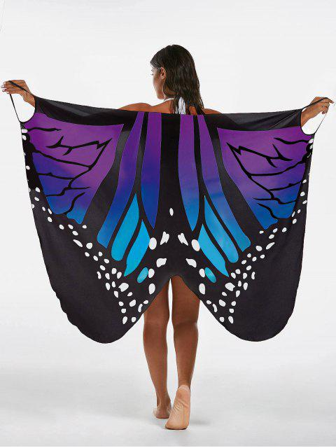 buy Butterfly Print Beach Wrap Cover Up Dress - BLUE + PURPLE L Mobile