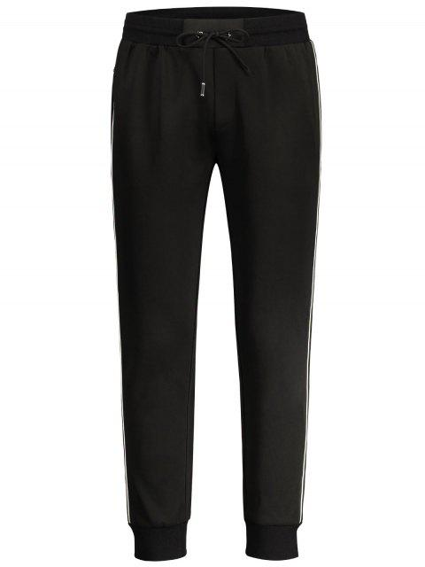 new Drawstring Contrast Stripe Jogger Pants - BLACK M Mobile