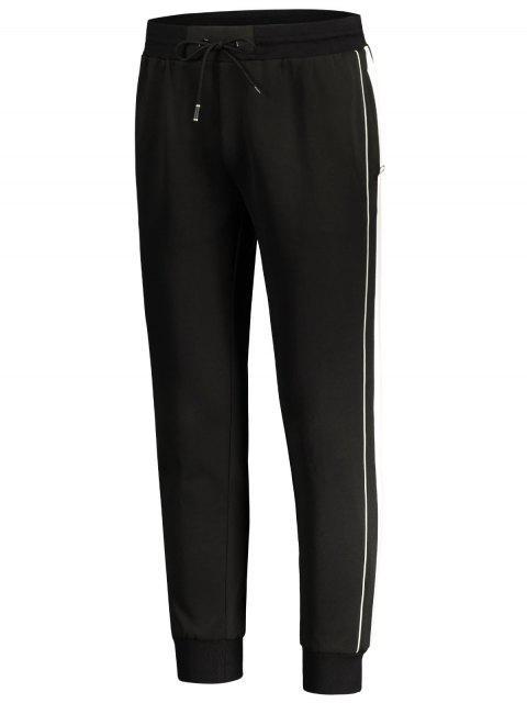 outfit Drawstring Contrast Stripe Jogger Pants - BLACK L Mobile