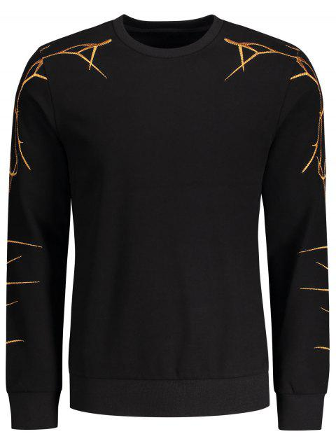 new Pullover Casual Embroidery Sweatshirt - BLACK L Mobile