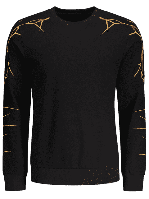 shop Pullover Casual Embroidery Sweatshirt - BLACK M Mobile
