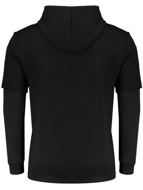 Sweat à capuche imprimé à double manche - Noir XL Mobile