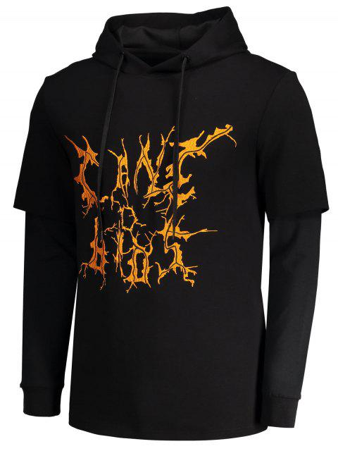affordable Double Sleeve Printed Hoodie - BLACK XL Mobile