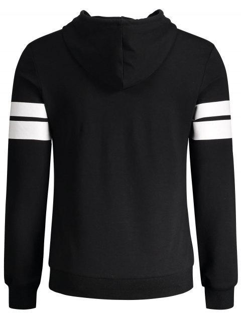 Sweat à capuche graphique Stripe Trim Pullover - Noir L Mobile
