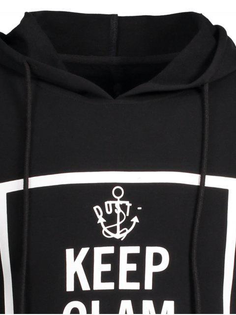 shop Stripe Trim Pullover Graphic Hoodie - BLACK XL Mobile